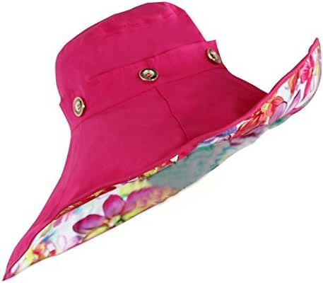 WindFeel Women Large Wide Brim Beach Hat with Sun Visor Shade UPF 50+ Hat Cap with Multicolor Flowers Pattern, Color Hot Pink