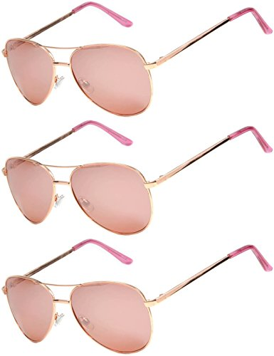 3 Pairs Classic Aviator Style Sunglasses Metal Frame Colored Lens (3 Gold Rose Mirror, - Rose Coloured Sunglasses