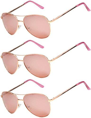 3 Pairs Classic Aviator Style Sunglasses Metal Frame Colored Lens (3 Gold Rose Mirror, - Aviators Rose