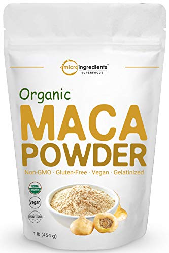 Pure Organic Maca Powder, 1 Pound, Gelatinized for Better Absorption, Rich in Antioxidants, Powerfully Help Energy, Libido, Stamina, Endurance, Strength and Immune System, No GMOs and Vegan Friendly