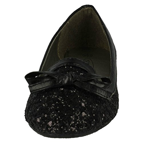 Girls Spot On Glitter 'Bow Detail Flats' Black BxcBm
