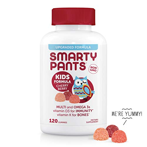 (SmartyPants Kids Formula Cherry Berry Daily Gummy Vitamins: Gluten Free, Multivitamin & Omega 3 Fish Oil (DHA/EPA), Methyl B12, Vitamin D3, Vitamin B6, 120 Count (30 Day Supply) - Packaging May Vary)