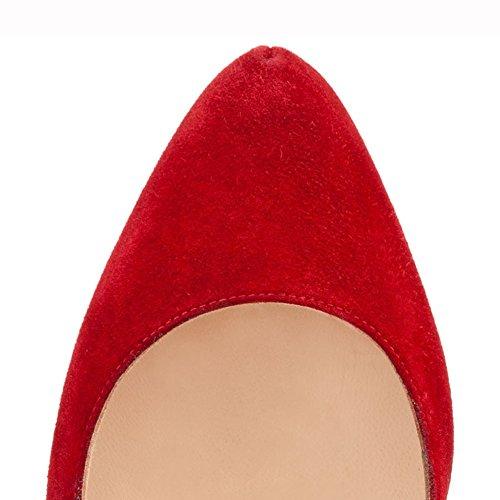 MERUMOTE - Zapatos de tacón fino Mujer Red-Suede
