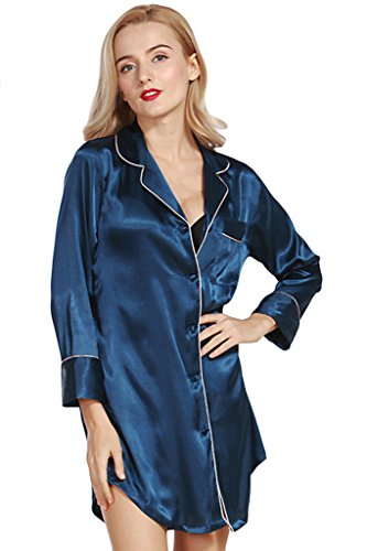 Asherbaby Women's Satin Long Sleeve Nightshirt Button Down Sleep Shirt Nightgown Navy US M=Tag XL (Satin Sleepshirt)