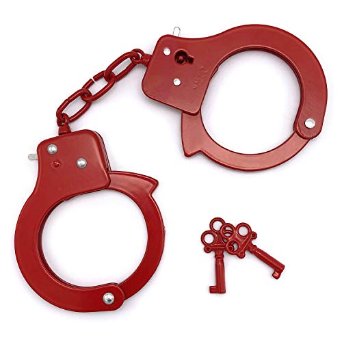 (SYOSIN Toy Metal Handcuffs with Keys PoliceRolePlay Party Supplies Cosplay Costume Accessory Pretend Play Hand Cuffs for Kids)