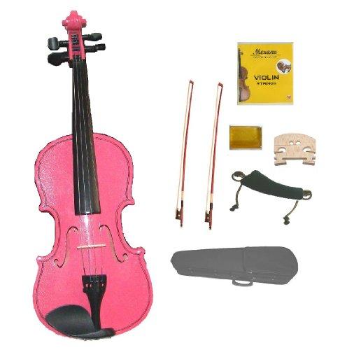 GRACE 1/8 Size PINK Acoustic Violin with Case+Rosin+2 Sets Strings+2 Bridges+2 Bows+Tuner+Shoulder Rest