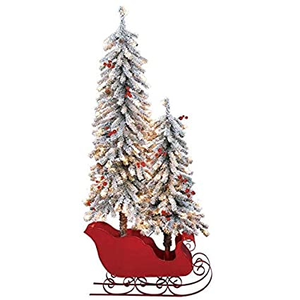 Holiday Living 4.5-ft Pre-lit Red Sleigh Pine Slim Flocked Artificial Christmas  Tree - Amazon.com: Holiday Living 4.5-ft Pre-lit Red Sleigh Pine Slim