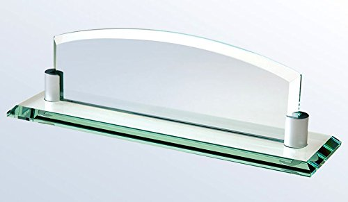 Deluxe Glass Name Plate with Free Engraving (Glass Desk Nameplate)