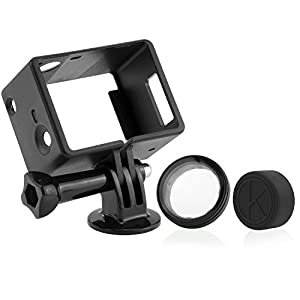 CamKix Frame Mount for GoPro with Screen / Battery Extension Hero 4, 3+ and 3 / Slots Accessible – Light and Small Housing – Use With LCD or Battery Extension - Includes Thumbscrew / Tripod Mount / Lens Cap / UV Filter Lens