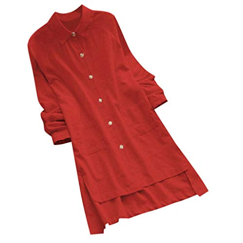 Sunhusing Ladies Solid Color Lapel Long Sleeve Loose Large Size Comfortable Cotton Linen Tunic Tops Shirt Watermelon Red