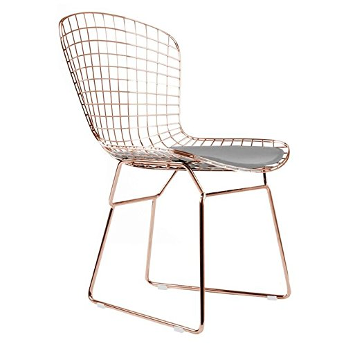Bertoia Style Side Chair In Rose Gold Finish (Grey Pad)