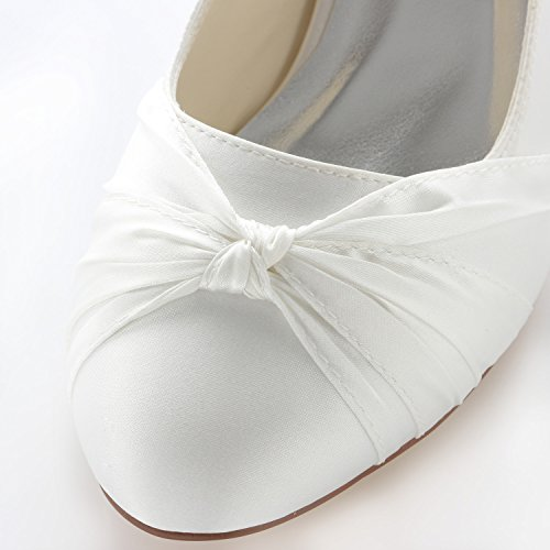 Para Nupciales Marfil Bombas Zapatos Satn Tacn De Con Emily Cerrado Bridal Mujer Cfx6qwFO1n