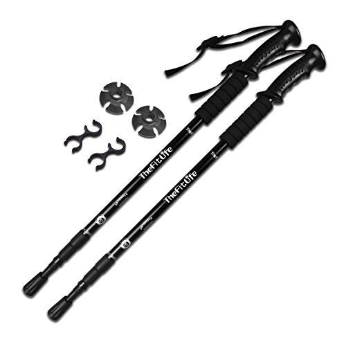 TheFitLife Nordic Walking mountaineering Anti Shock Hiking Trekking Walking Trail Poles, 2-pack, Folding Collapsible Alpenstocks, ultralight for travel mountaineering (Black) (Stick Walking Trekking Hiking)