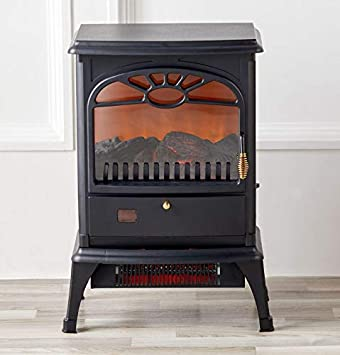 Warm Living Electric Infrared Stove Fireplace Heater – Black