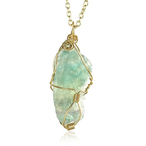OAKKY Women's Natural Green Fluorite Pendant Irregular Gemstone Necklace with 21 Inch Gold Chain (Fluorite Green Necklace)