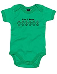 Level 1 Human, Printed Baby Grow - Kelly Green/Black/Transfer 0-3 Months