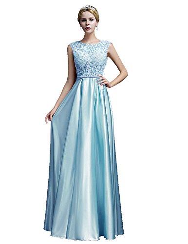 azul de vestido raso celeste V encaje cuello manga Bowknot de Emily de noche Beauty xwzgqF7qv