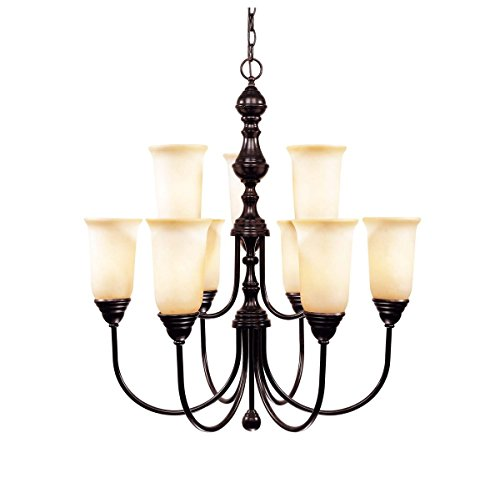 Savoy House 1-1702-9-13 Chandelier with Cream Faux Marble Shades, English Bronze Finish