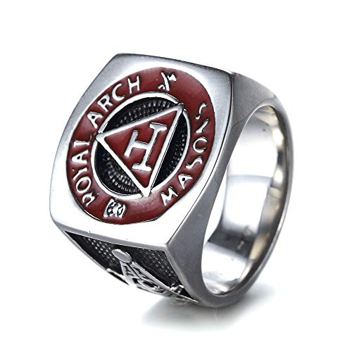 Sping Jewelry Retro Red Masonic Signet Gift Ring Titanium Steel Royal Arch Masons for Men (Masonic Signet Ring)