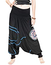 Modern Tribal Baggy Aladdin Harem Pants Stretch Jersey Cotton (Black Mandala)