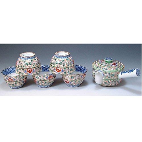 Kiyomizu-kyo yaki ware. Set of Japanese yunomi teacup and kyusu teapot hiwakaun with wooden box. Porcelain. kymz-JRH133