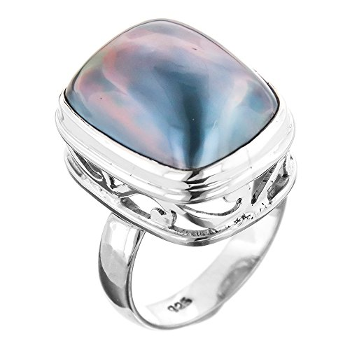 - Blue Mabe Cultured Pearl 925 Sterling Silver Ring, Us 5