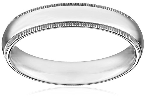 Standard Comfort-Fit 14K White Gold Milgrain Band, 4mm, Size 9