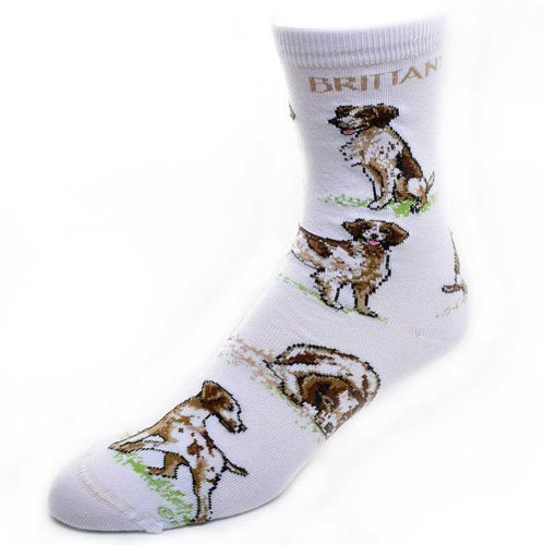 (Large Print Brittany Spaniel Poses Socks Medium For Bare Feet Adult Socks)