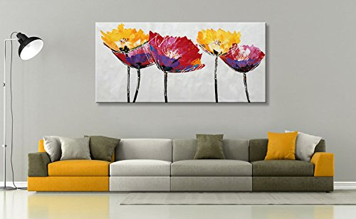 Seekland Art Hand Painted Large Flower Oil Painting on Canvas Wall Art Abstract Picture Floral Decor Contemporary Artwork No Frame (72''W x 36''H)