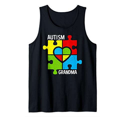 Autism Grandma Puzzle Pieces And Heart Tank - Puzzle Piece Tank