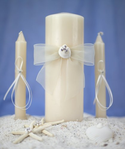 Rhinestone Shell Hawaiian Beach Wedding Unity Candle Set: Candle Color: (Ivory Beach Unity Candle)