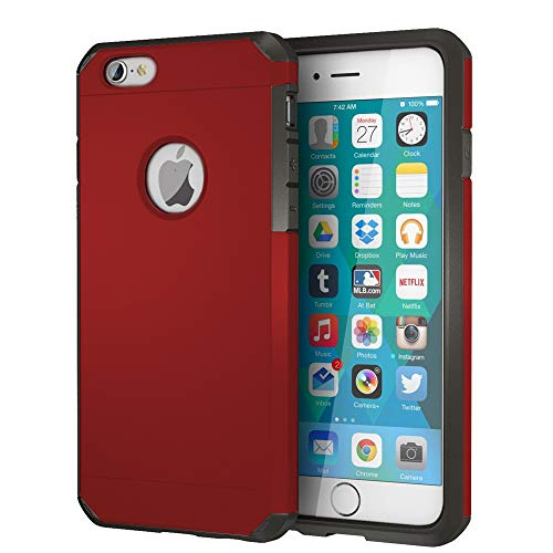 IMPACTSTRONG iPhone 6 / 6s Case, Heavy Duty Dual Layer Protection Cover Heavy Duty Case for Apple iPhone 6/6 (Deep Red) (Iphone Protection Case Double 6)