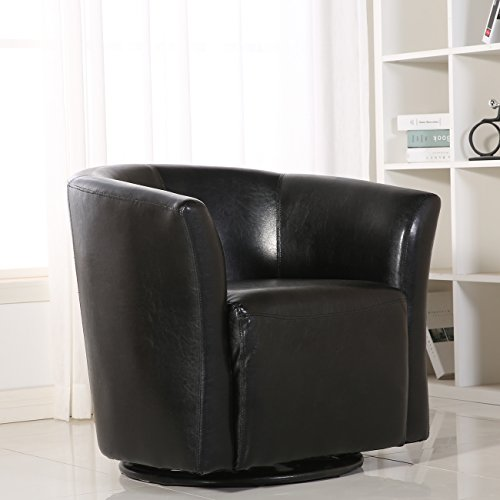Belleze Contemporary Swivel Base Glider Barrel Upholstered Fabric ArmRest Pub Bar Round Chair, Black Contemporary Round Upholstered Chair
