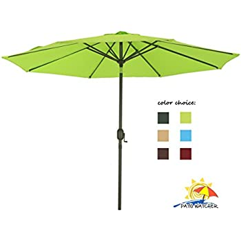 Patio Watcher 9 Ft Aluminum Patio Umbrella With Push Button Tilt And Crank,  250 GSM Fabric,8 Steel Ribs, Lime Green