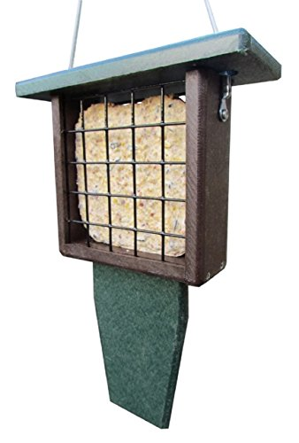 JCs Wildlife Recycled Single Suet Feeder Tail Prop Brown & Green w