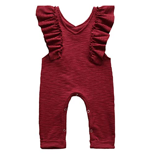 (Unmega Baby Girl Sleeveless Romper Ruffle Jumpsuit Long Pants Overalls (Wine Red, 70/0-3 Months))