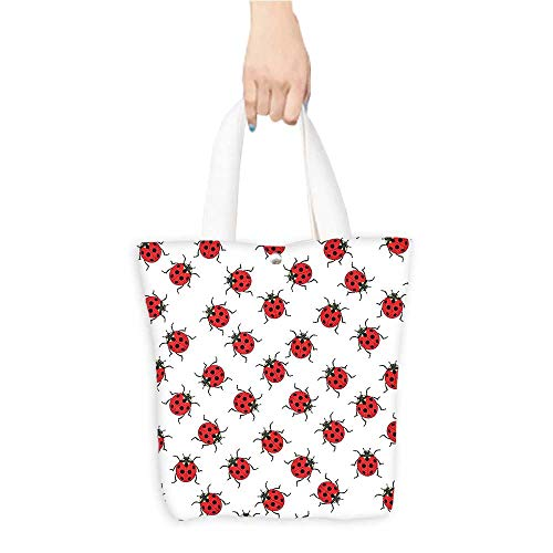 Folding Shopping Bag Ladybugs Decorations Ladybugs Pattern Bunch of Bugs Infinite Speckled Marked Insect Theme Play Kids Red White (W15.75 x L17.71 ()