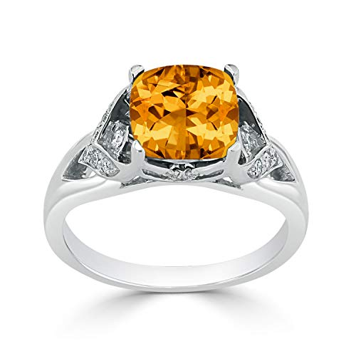 Tdw Diamond Ring Citrine - Diamond Wish 14k White Gold Diamond Engagement Ring with 2 3/8 ct Cushion-cut Citrine Gemstone and 1/8 ct TDW, Size 4