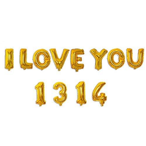 eDealMax Foil JE Vous AIME 1314 de soire de Mariage Ballon Anniversaire clbration Decor 12 en 1 ton or