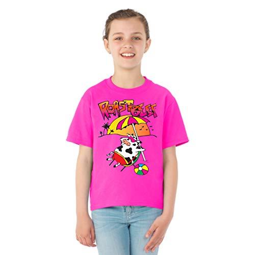 Roast Beef Beach Cow   Funny Dustin Costume Idea Stranger   Girls Pop Culture Graphic T-Shirt, Neon Pink, Medium]()