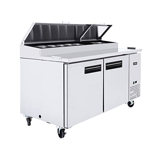 67 Inches 2 Door Pizza Prep Table Refrigerator - KITMA 18.5 Cu.Ft Refrigerated Salad Prep Station Table with Cutting Board and Pans for Restaurant, 33 °F - 38°F by Kitma