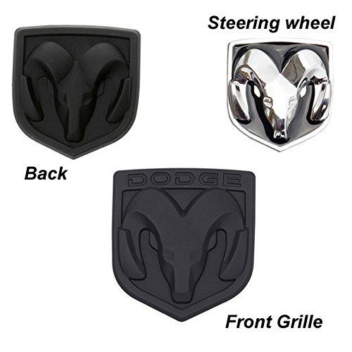 BENZEE 3pcs Set AM109-A Full Black Dodge Front Hood + Back Rear + Steering Wheel Car Emblem Badge Sticker