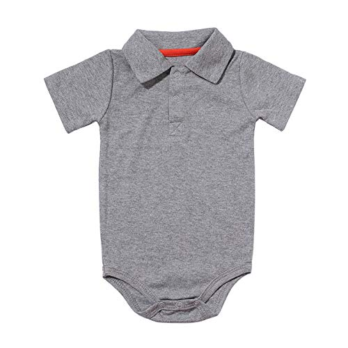 Baby Boys Pure Color Cotton Short Sleeve Polo Bodysuit 3-24 Months (12 Months, Grey)