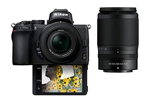 "Nikon Z50 Compact Mirrorless Digital Camera with Flip Under ""Selfie/Vlogger"" LCD   2 Zoom Lens Kit Includes: NIKKOR Z DX 16-50mm f/3.5-6.3 VR & NIKKOR Z DX 50-250mm F/4.5-6.3 VR"