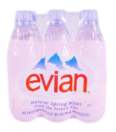 Evian Natural Spring Water, 6 Pack Of 1/2 Liter Bottles, 101.4 fl oz by Evian