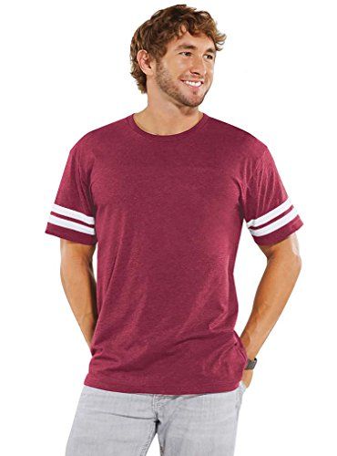 LAT Apparel Adult 100% Adult Vintage Football Jersey Tee [X Large] Vintage Burgandy/ White Short Sleeve T-Shirt