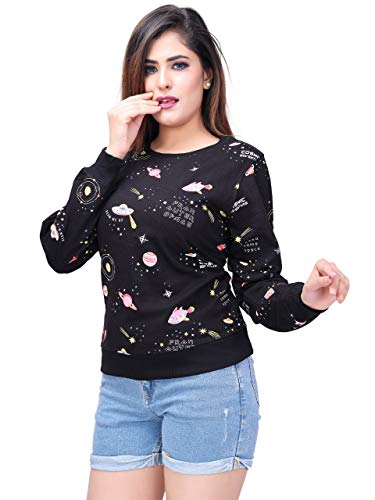 Blacked Women's Cotton Round Neck Sweatshirt