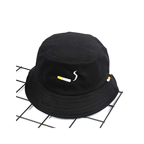 Cotton Embroidery Bucket Hat Fisherman Hat Outdoor Travel Hat Foldable Sun Cap Hats Men Women,Black ()