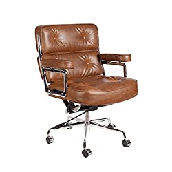 Vintage Caramel Brown Premium PU Leather Soft Pad Executive Management Office Replica Chair Swivel and Polished Aluminium Frame