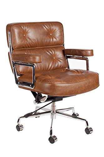 Vintage Caramel Brown Premium PU Leather Soft Pad Executive Management Office Replica Chair Swivel and Polished Aluminium Frame (Chair Base Wicker)